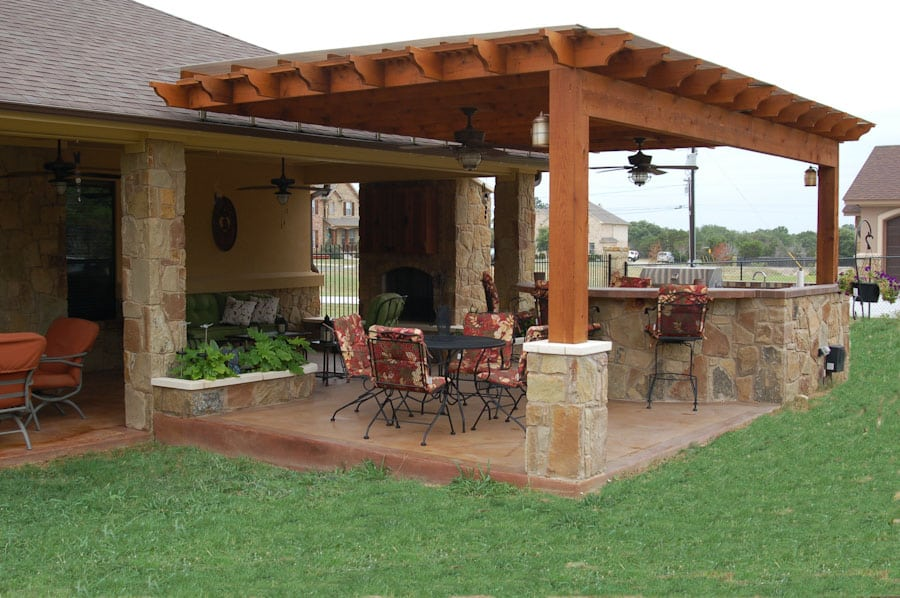 Outdoor kitchen weatherproof pergola austin outdoor living for Pergola outdoor kitchen