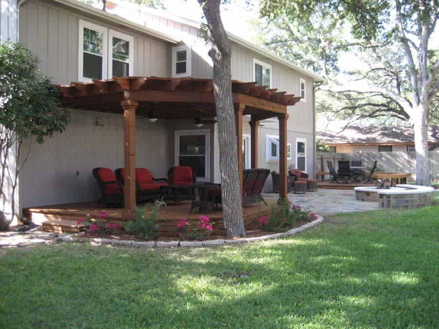 patio pergola firepit deck austin outdoor living