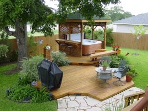 Deck With a Roof and Hot Tub