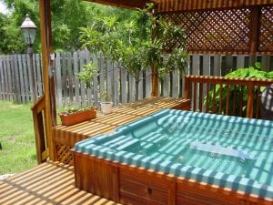 Deck with Pergola and Hot Tub