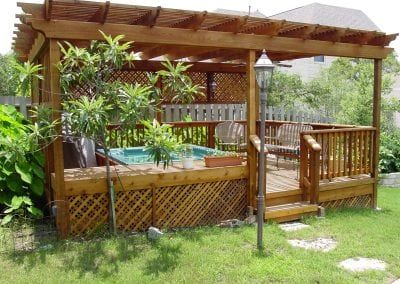 Outdoor Deck with Pergola and Hot Tub