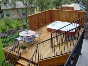 Deck with a Hot Tub with Lattice Wall